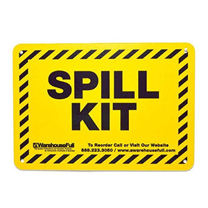 "20 Gallon Universal Spill Kit, Pro Grade, 50 PC: Overpack Drum, 35 Heavy Duty Pads 15"" x 19"", 3 Socks 3"" x 12', 2 Pillows 18"" x 18"", Chemical Gloves, Hazmat Bags, Goggles, Guide Book, Wall Sign"