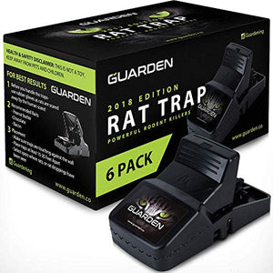 Guarden All Weather Rat Snap Traps, Kills Gophers, Voles, Mice, and Rat (6 Traps)