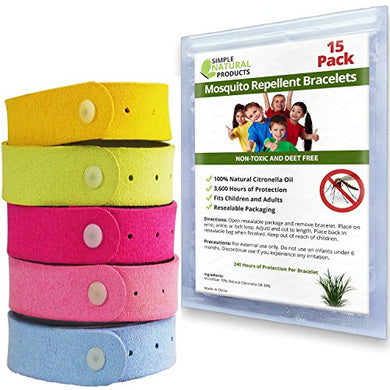 Simple Natural Products Mosquito Repellent Bracelet (15 Pack)