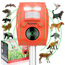 Load image into Gallery viewer, DURANOM Ultrasonic Solar Powered Animal Repeller w/ Motion Sensor, Strobe Light & Alarm Chase