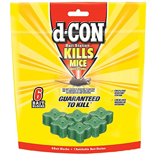 D-CON Refillable Corner Fit Mouse Poison Bait Station (1 Trap + 6 Bait Refills)