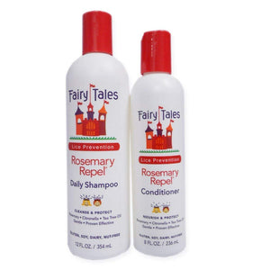 Fairy Tales Rosemary Repel Daily Kid Shampoo (12 oz) & Conditioner (8 oz) Duo for Lice Prevention
