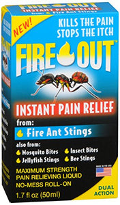 Fire Out Instant Pain Relief from Fire Ant Stings, No-Mess Roll-On (1.7 Fl. Oz.)