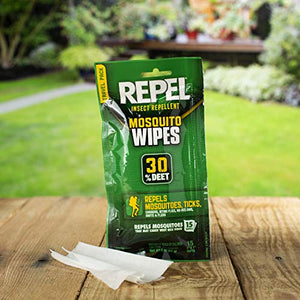 Repel Insect Repellent Mosquito Wipes 30% DEET (15 Wipes)