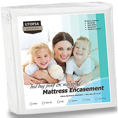 Utopia Bedding Zippered Mattress Encasement - Bed Bug Proof, Dust Mite Proof Mattress Cover - Waterproof Mattress Protector (Twin)
