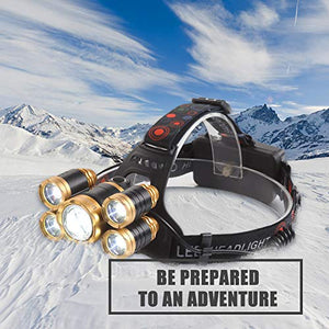 NEWEST Headlamp 12000 Lumen CREE LED Work Headlight with 18650 Rechargeable Batteries, 4 Modes IPX4 Waterproof Zoomable Head Lamp Best Head Lights for Camping Cycling Hiking Hunting