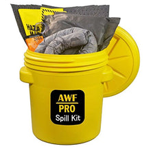 "Load image into Gallery viewer, 20 Gallon Universal Spill Kit, Pro Grade, 50 PC: Overpack Drum, 35 Heavy Duty Pads 15"" x 19"", 3 Socks 3"" x 12', 2 Pillows 18"" x 18"", Chemical Gloves, Hazmat Bags, Goggles, Guide Book, Wall Sign"