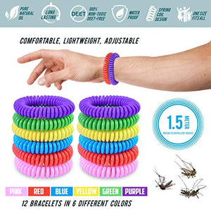 Bugger Off Mosquito Repellent Bracelet, 100% All Natural Non-Toxic Oils (12 Pack)
