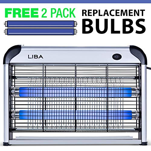 LiBa Bug Zapper & Electric Indoor Insect Killer (2 Replacement Bulbs Incl.)