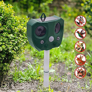 JGRZF Solar Animal Repeller Ultrasonic Pest Repellent Electronic Cat Deterrent for Dog Rodent Deer Squirrel Bird Raccoon Skunk Bear Rat Fox Mole