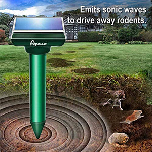 Apello Ultrasonic Mole, Gopher, & Chipmunk Repellent, Solar Powered (4 Pack)