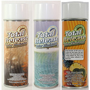 Odor Eliminator, Not a Cover up, (Pack of 3) Total Release Aerosol Spray & Fogger - 1 each: Autumn Mist, Sea Breeze, Tropical Mist Scent