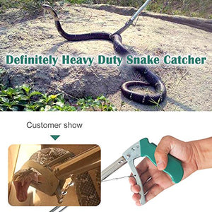 "IC ICLOVER 47"" Extra Heavy Duty Standard Reptile Snake Tongs Reptile Grabber Rattle Snake Catcher Wide Jaw Handling Tool"