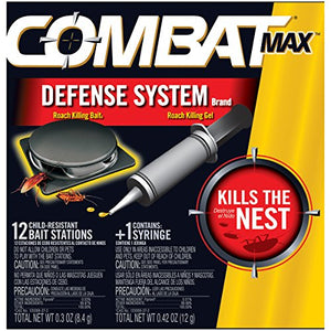 Combat Max Defense System Brand, Small Roach Killing Bait Stations Plus Gel Bait Tube (12 Stations, 1 Tube)