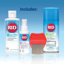 Load image into Gallery viewer, RID Lice Treatment Complete Kit, Includes 4 Fluid Ounces RID Lice Killing Shampoo, 2 Fluid Ounces Lice and Egg Comb-Out Spray, Lice Comb, and 3 Ounces RID Home Lice, Bedbug & Dust Mite Home Spray