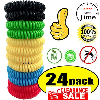 Mosquito Repellent Bracelet,100% Natural Non-Toxic (24 Pack)