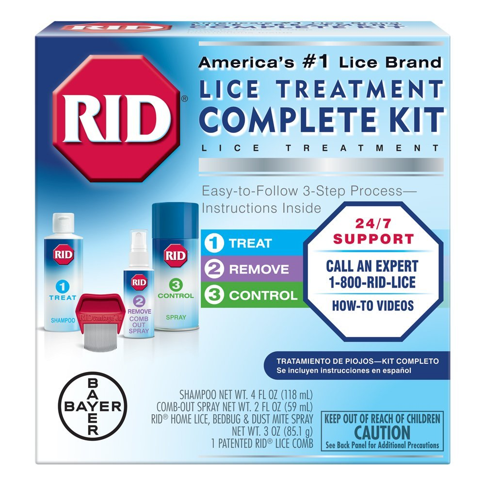 RID Lice Treatment Complete Kit, Includes 4 Fluid Ounces RID Lice Killing Shampoo, 2 Fluid Ounces Lice and Egg Comb-Out Spray, Lice Comb, and 3 Ounces RID Home Lice, Bedbug & Dust Mite Home Spray