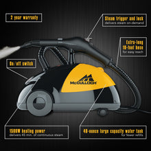 Load image into Gallery viewer, McCulloch MC1275 Heavy-Duty Steam Cleaner with 18 Accessories – All-Natural, Chemical-Free Pressurized Steam Cleaning for Most Floors, Counters, Appliances, Windows, Autos, and More