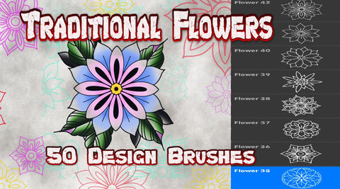 Traditional Flowers 50 Procreate design brushes