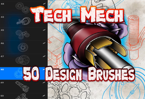 Tech Mech 50 Procreate image brushes