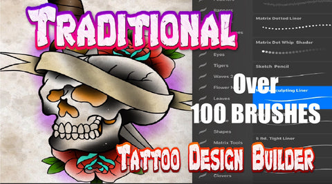 Traditional Collection 102 Tattoo Brushes for Procreate