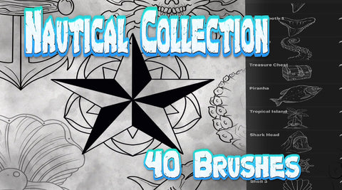 Nautical Tattoo Brush Collection For Procreate 40 Brush set