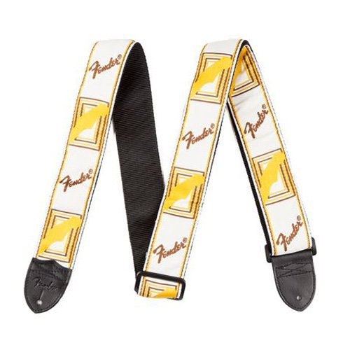 Fender 2 Inch Monogrammed Strap, White/brown/yellow Electric Guitar Strap
