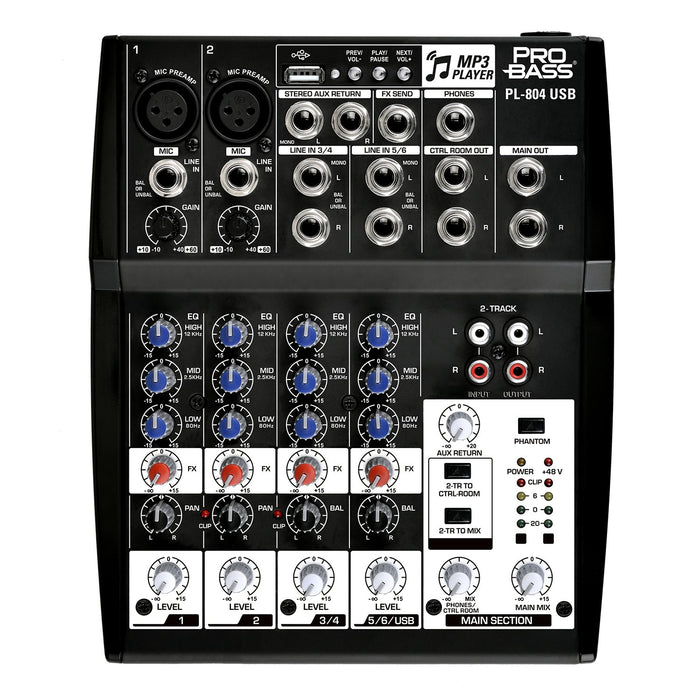 Pro Bass PL-804 Professional Audio Mixing Console 8 Channels, 3 Bands EQ +48 Phantom Power