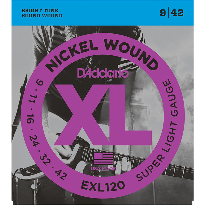 D'Addario EXL120 Nickel Wound Electric Guitar Strings, Super Light, 9-42