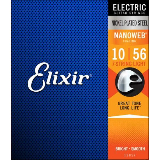 Elixir 12057 NanoWeb Electric 7-String Electric Guitar Strings 10-56