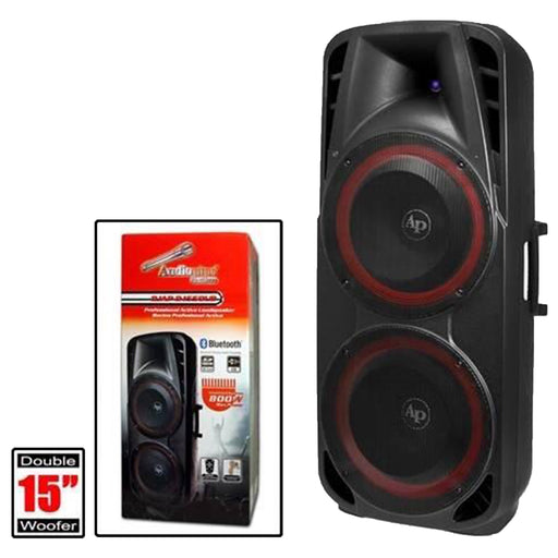 "DJAP-1550UB  2 - 15"" Powered BlueToothPA Speaker Cabinet With LED Illumination (AVAILABLE FOR PICKUP AT STORE)"