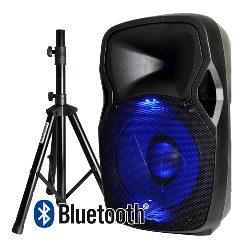 "Audiopipe - 15"" Powered BlueToothPA Speaker Cabinet With LED Illumination"