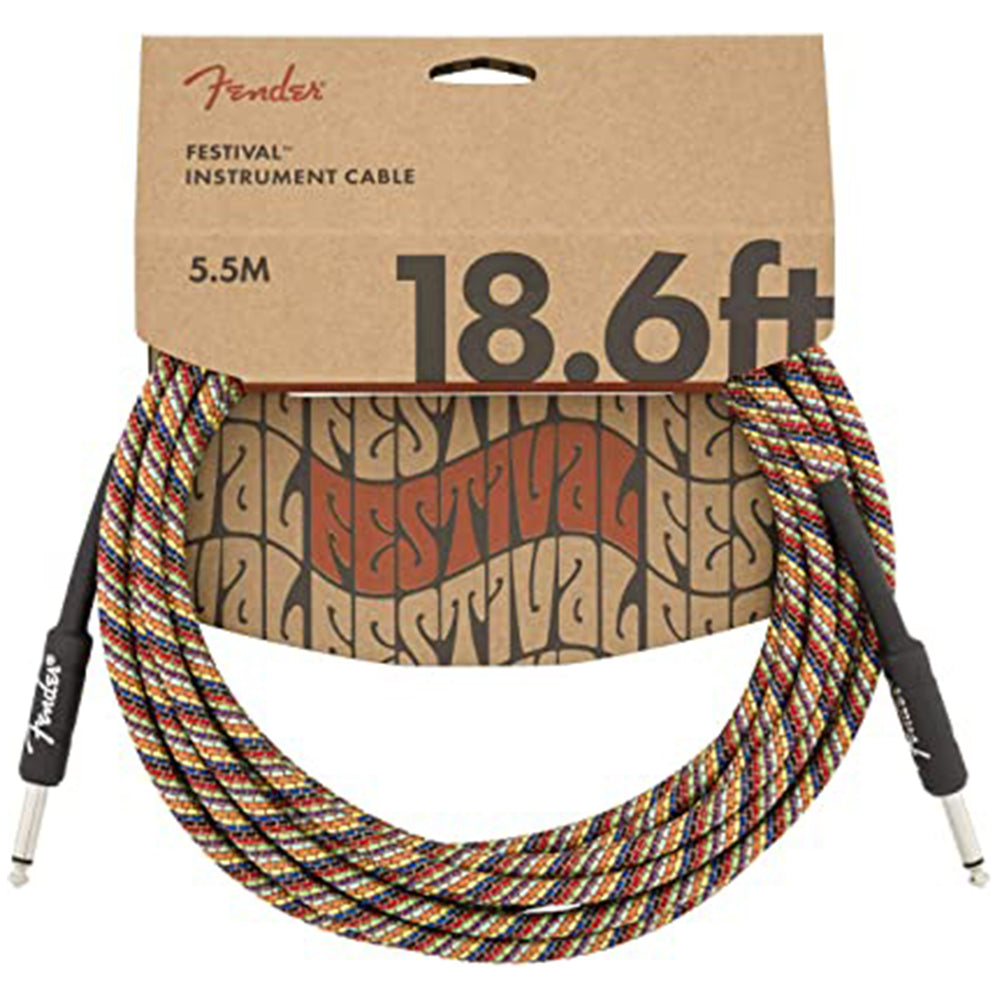 Fender Festival Instrument Cable - 18.6' Straight-Straight, Rainbow