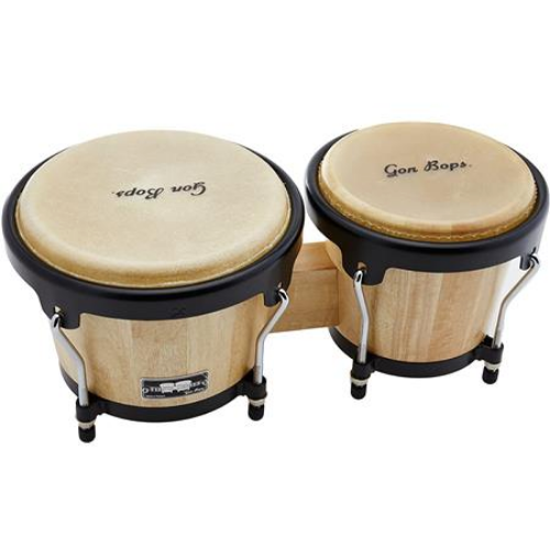 Gon Bops Bongo Fiesta Series Natural with Black Hardware