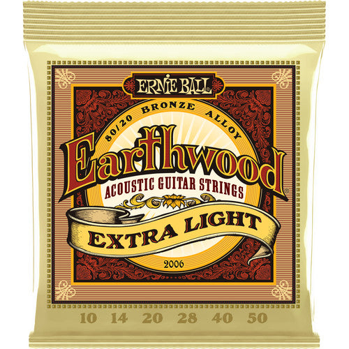 Ernie Ball Earthwood Extra Light Acoustic Guitar Strings 80/20 Bronze