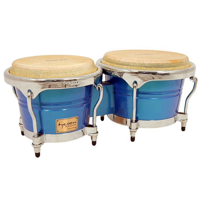 Tycoon Percussion 7 Inch & 8 1/2 Inch Concerto Series Bongos, Blue Spectrum Finish