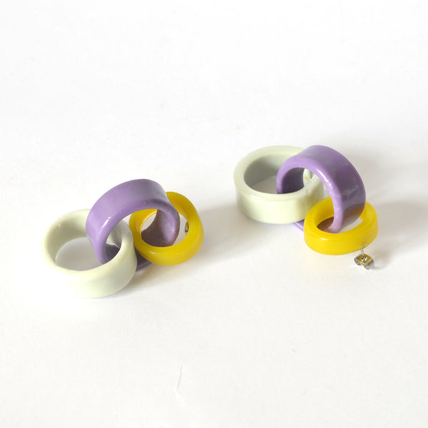 Triple Link Drops - Yellow/Purple/Grey Combo