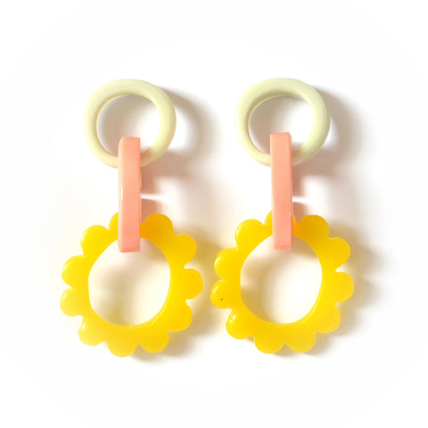 Mini Frill Drop Earrings-Grey/Pink/Yellow Combo
