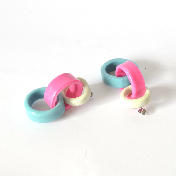 Triple Link Drops - Grey/Barbie Pink/Blue Combo