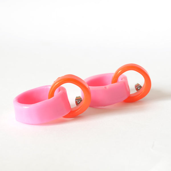 Double Link Drops - Orange/Barbie Pink Combo