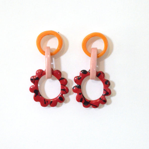 Mini Frill Drop Earrings-One of Kind Colourway