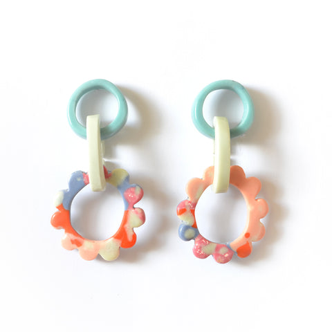 Mini Frill Drop Earrings-ONE OF A KIND COLOUR WAY