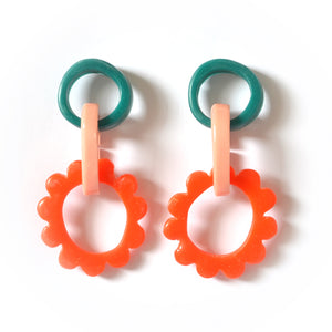Mini Frill Drop Earrings-Green/Dusty Pink/Orange Combo