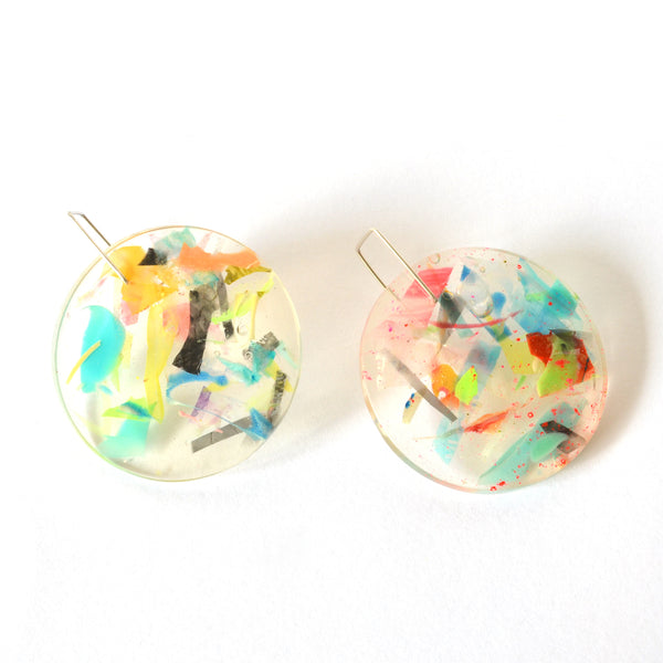 Collage Collection-Large Disk Drops-Sterling Silver Hooks
