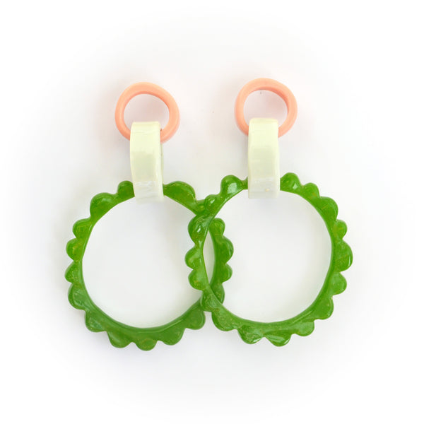 Mega Frill Drop Earrings-Pink/Green Combo