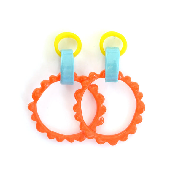 Mega Frill Drop Earrings-Yellow/Blue/Orange Combo