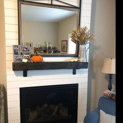 Add a Mantel With Metal Brackets to Your Home