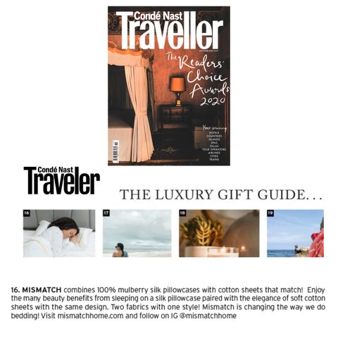 Conde Nast Traveler includes in their Luxury Gift Guide, Mismatch, a luxury bedding company that pairs silk pillowcases with matching cotton sheets.  Customers enjoy the beauty benefits of 100% mulberry silk and the soft, coolness of cotton sheets.  Founded by Anisha Rice.