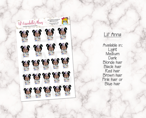 Laundry Day Character Sticker Sheet. (Customizable) - Lil' Annabelle's Plans