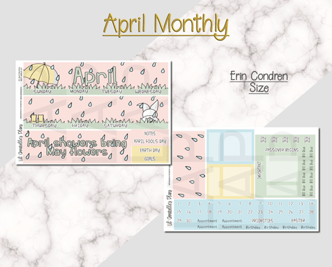 April Monthly Kit for Erin Condren and/or Happy Planner - Lil' Annabelle's Plans